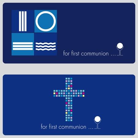 battesimo: Prima Comunione o invito scheda di conferma Vettoriali