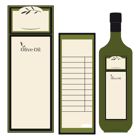 aceite de oliva virgen extra: La etiqueta delantera y trasera para una botella de aceite de oliva