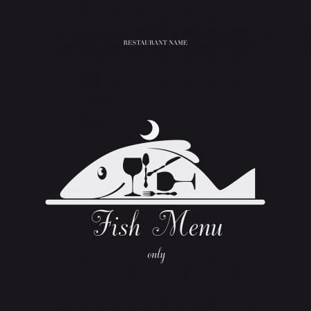 piatto cibo: Carta Menu solo modello di progettazione di pesce. Vettoriali