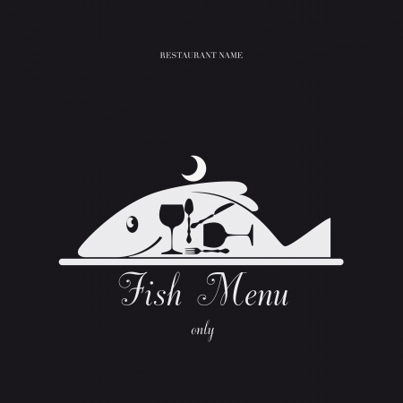 dish: Paper Menu only fish design pattern. Illustration