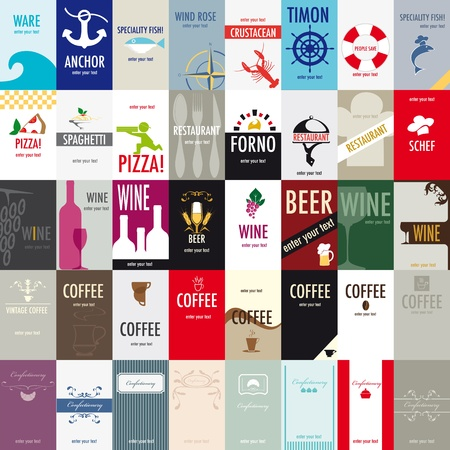 Variety of 40 vertical business cards on a specific topic, catering. Vector