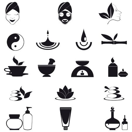 Wellness, spa and nature icons isolated on white Vector