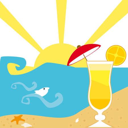 aperitif: Aperitif on the beach  Illustration