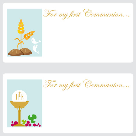 christian confirmation: Invitation cards for religious event  Illustration