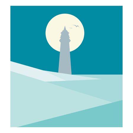 sea horizon: Flat Lighthouse illustration Illustration
