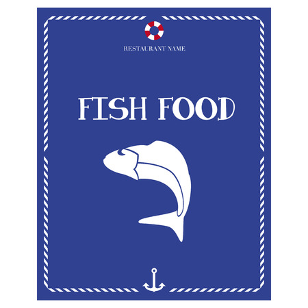 First page of the only seafood menu with blue background Illustration