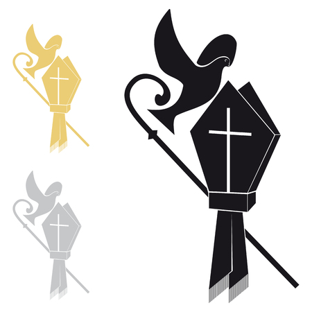 Where black hat stick on a white background with two color variations Vectores