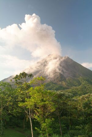 Steam and smoke erupt from Arenal volcano in Costa Rica