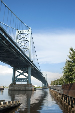bridge footing: Looking under the Benjamin Franklin bridge from the Philadelphia side  Stock Photo