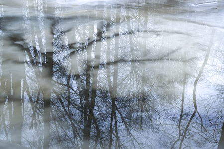 Abstract of ice and reflections.