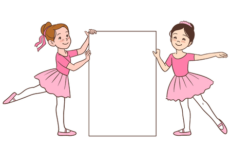 Vector cartoon character illustration of two cute little ballerina girls dressed in pink leotards and tutus, holding a blank sign template. Multicultural Caucasian and Asian girls  in ballet positions