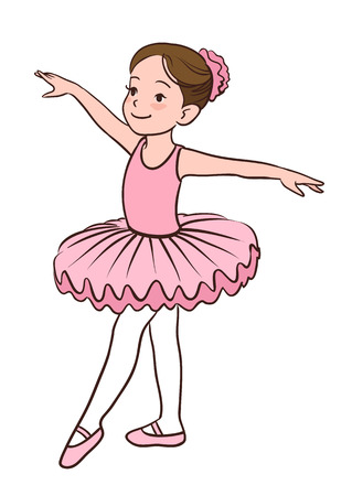 Cartoon vector illustration of a smiling little Caucasian ballerina girl wearing pink leotard, tutu and ballet slippers, standing gracefully with arms apart and pointed left foot