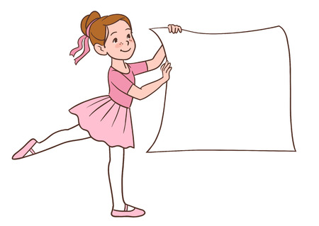 Vector hand drawn illustration of a cartoon ballerina little girl character wearing pink tutu ad leotards holding a blank sign isolated on white background.