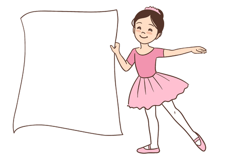 Vector hand drawn cartoon character illustration of a smiling cute little Asian ballerina girl holding a blank sign template for message display, wearing ballet outfit with leotard and tutu.