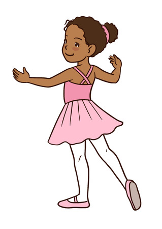 Vector cartoon hand-drawn illustration of a dark skinned cute little ballerina girl, standing in a ballet position with pointed toe and arms to the sides, wearing pink tutu, and leotard.