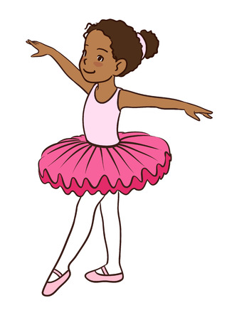 Hand drawn vector character cartoon illustration of a little African-American cute dancing ballerina girl in pink leotard, tutu and ballet slippers, isolated on white background.
