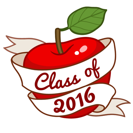 Vector hand-drawn illustration of a red apple with green leaf, with scroll ribbon template around the apple with text