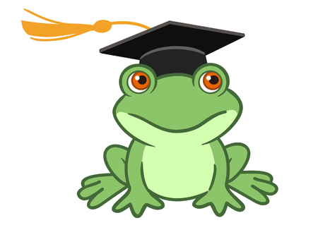 Vector hand drawn cartoon illustration of a happy smiling frog wearing a black graduate mortarboard cap with a tassel isolated on white. Graduation concept for preschool, kindergarten and school. Illustration