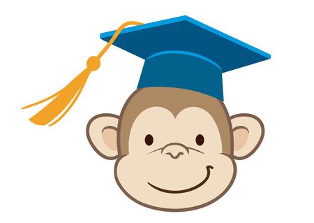 Vector hand drawn cartoon character mascot illustration of a cute happy monkey face in blue mortarboard graduate cap with tassel. Funny humorous graduation concept for school, preschool, kindergarten Illustration