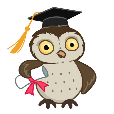 Vector hand drawn cartoon character mascot illustration of a cute owl wearing mortarboard graduation cap, holding a diploma tied with red ribbon. Education and learning design element.