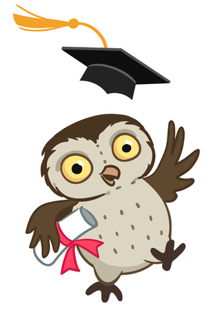 Vector hand drawn cartoon mascot character illustration of a cute happy owl throwing a mortarboard cap in the air, holding a graduation diploma.