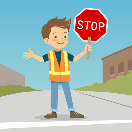 patrol: Vector hand drawn character cartoon illustration of a smiling boy in crossing guard uniform standing on urban street with stop sign in hand. School safety patrol, safe street crossing for children.