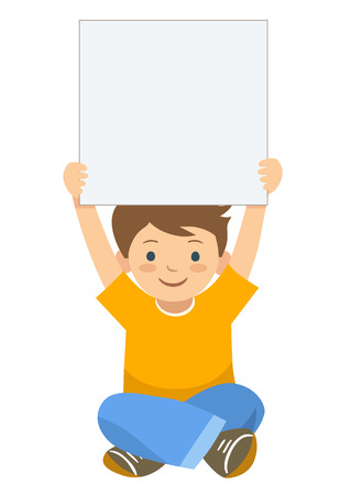 Vector hand drawn cartoon character illustration of a little boy sitting with legs crossed, holding up a blank sign. Editable text sign template design element in contemporary flat vector style. Illustration