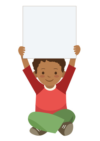 cross legged: Vector hand drawn character illustration of cute African American elementary school boy sitting cross legged holding up a blank sign. Children themed design element template in contemporary flat style