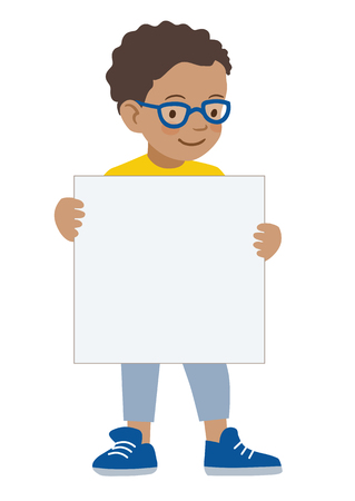 Vector hand drawn cartoon character illustration of a little African American boy wearing eyeglasses holding a blank sign. Editable text sign template design element, contemporary flat vector style