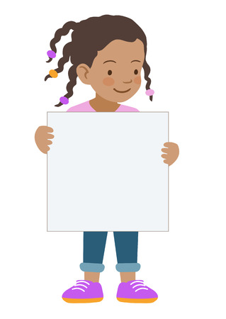 Vector hand drawn cartoon character illustration of a cute little African American girl standing holding up a blank sign. Editable text sign template design element in contemporary flat vector style.