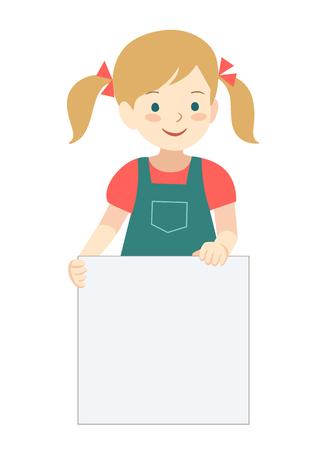ベクトルは、立って、空白記号を保持しておさげのかわいい女の子の漫画キャラ イラストを手描き。編集可能なテキスト記号テンプレート デザイン  イラスト・ベクター素材
