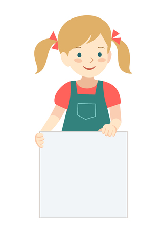 Vector hand drawn cartoon character illustration of a cute little girl with pigtails standing, holding up a blank sign. Editable text sign template design element in contemporary flat vector style. Vettoriali