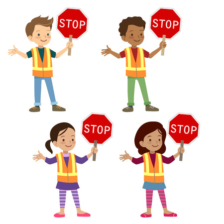 Vector hand drawn cartoon character illustration of multicultural young school age children in crossing guard uniform holding stop sign. Safe street crossing, school safety patrol, kids safety rules.  イラスト・ベクター素材