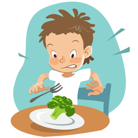 Vector hand drawn cartoon character illustration of a boy sitting at table with a plate of broccoli, looking shocked and disgusted. Picky eater, healthy food and parenting concept design element. 矢量图像