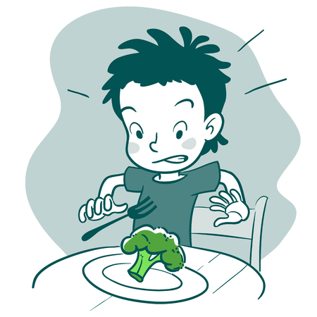 blanco y negro vector de la mano ilustración dibujada personaje de dibujos animados de un niño sentado en la mesa con un plato de brócoli, mirando disgustado. delicado con la comida, la comida saludable y la crianza elemento concepto de diseño.