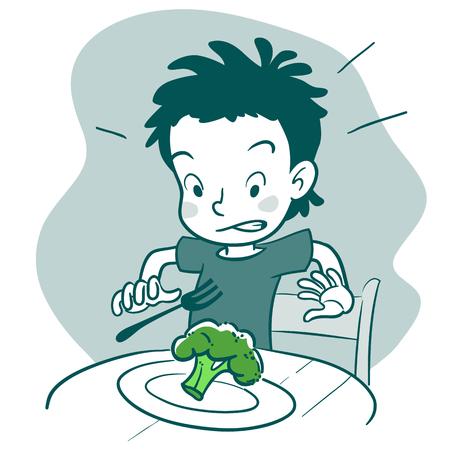 Vector zwart-wit met de hand getekende cartoon karakter illustratie van een jongen zitten aan tafel met een plaat van broccoli, op zoek walgen. Kieskeurige eter, gezonde voeding en ouderschap concept element.