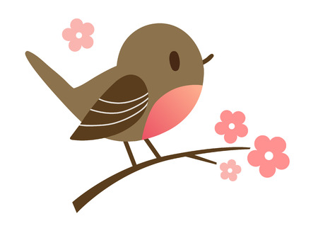 Cartoon hand drawn illustration of a cute robin bird sitting on a flowering tree branch, in contemporary flat vector style. Spring nature outdoor themed design element for website and print.