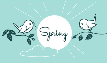 two birds: Vector monochrome line cartoon illustration of two cute birds sitting on tree branches with sun and cloud in sky, with space for text caption. Spring and nature themed design element for web and print Illustration