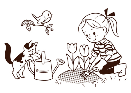 Vector black and white cartoon line drawing of a cute little girl gardening in the springtime, with flower bed of tulips, cat, watering can and robin bird on a branch. Design element for print and web