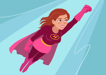 Vector hand drawn cartoon character illustration of a young Caucasian woman wearing superhero costume with cape, flying through air in superhero pose, on aqua background. Flat contemporary style. Stock Illustratie
