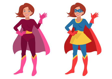 supergirl: Vector hand drawn cartoon character illustration of a smiling friendly young woman wearing Superhero costume with cape and mask, standing with one hand on hip, waving hello. Flat contemporary style.