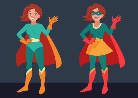 Vector cartoon character illustration of a smiling friendly young woman wearing Superhero costume, standing, waving hello. Flat contemporary style in bright retro colors isolated on dark background.