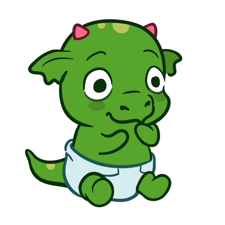 Vector hand drawn cartoon illustration of a cute sitting baby monster dragon mascot character wearing a diaper isolated on white. Birthday, new baby and baby shower theme design element