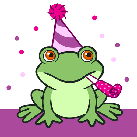 Vector hand drawn cartoon illustration of a friendly green frog in a pink and purple party hat with a pom-pom, with a party blower horn in its mouth, against purple and white background with pink dots Illustration