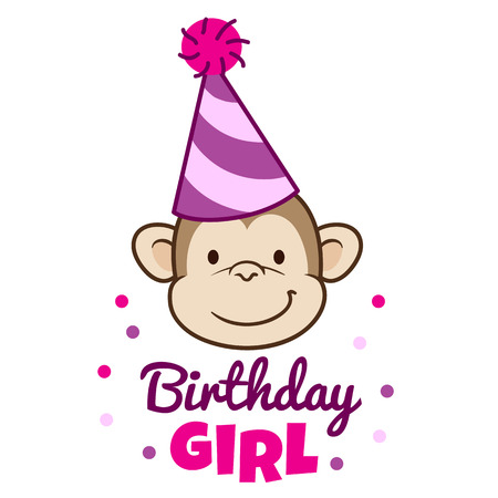 Vector hand drawn cartoon character illustration of a smiling monkey face wearing a pink stripy party hat, with caption below that reads