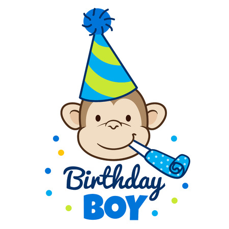 Vector hand drawn cartoon illustration of a happy monkey face in a party hat with party blower horn in mouth, with words Birthday Boy below. Design element for party invitations, cards, banners.