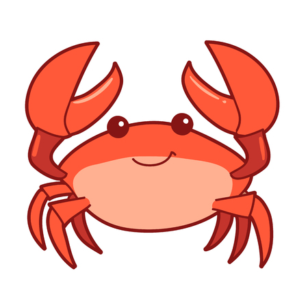 Vector hand drawn cartoon illustration of a cute smiling happy crab character, lifting up claws, isolated on white background.