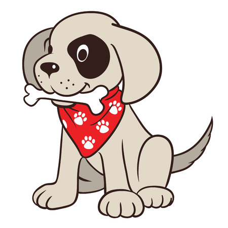 Vector hand drawn cartoon illustration of a cute friendly dog character with bone in mouth, wearing red neck bandanna with paw print Illustration