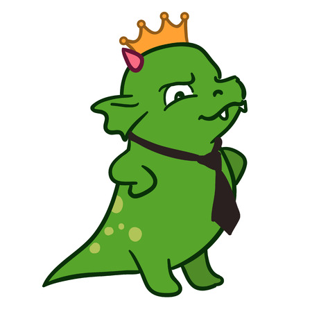 Vector hand drawn illustration of a cute fat green dragon mascot character standing with arms akimbo looking important, wearing a golden crown and black neck tie. Happy boss's day illustration.