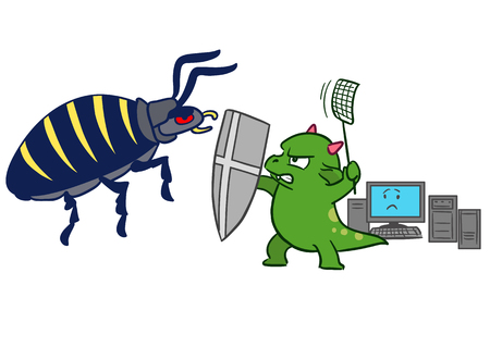 Vector hand drawn cartoon illustration of a green dragon monster mascot character, sword and fly swatter in hand, protecting computer from bug virus malware attack.